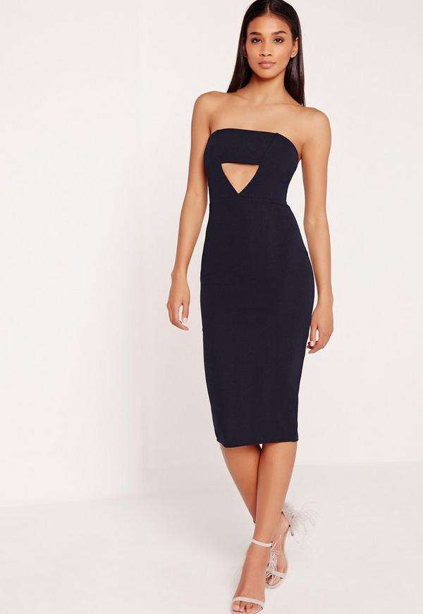Crepe Cut Out Bandeau Midi Dress Navy