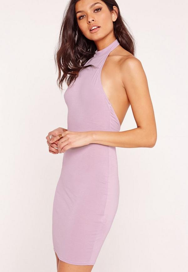 Choker Halter Bodycon Dress Lilac