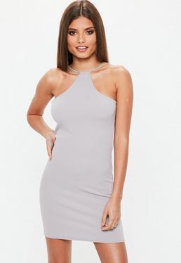 Racer Neck Bodycon Dress Grey