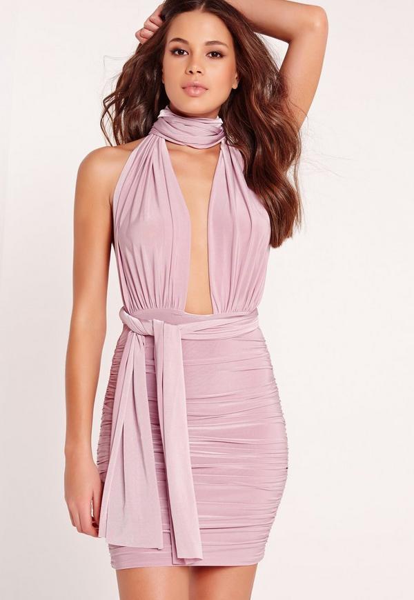 Multiway Slinky Bodycon Dress Lilac