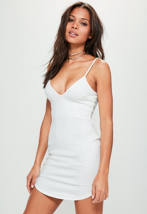 White Strappy Plunge Bodycon Dress