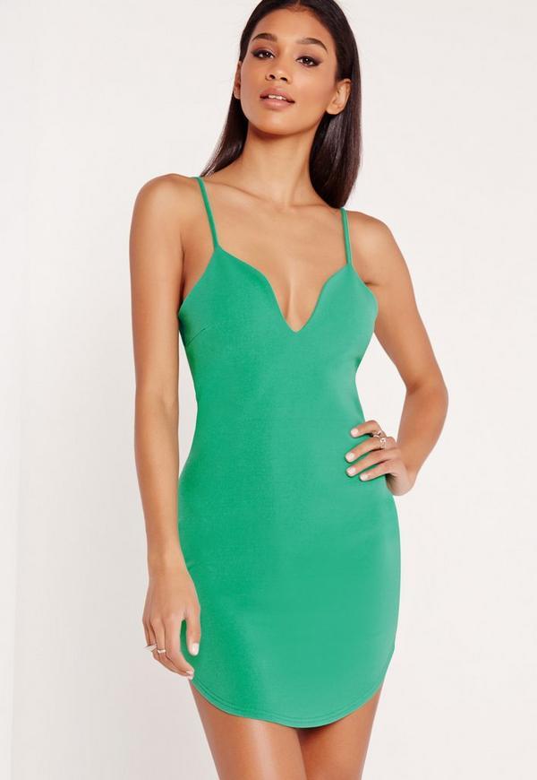 Strappy Plunge Bodycon Dress Green