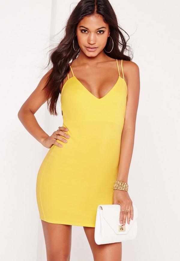 Strappy Scuba Bodycon Dress Yellow