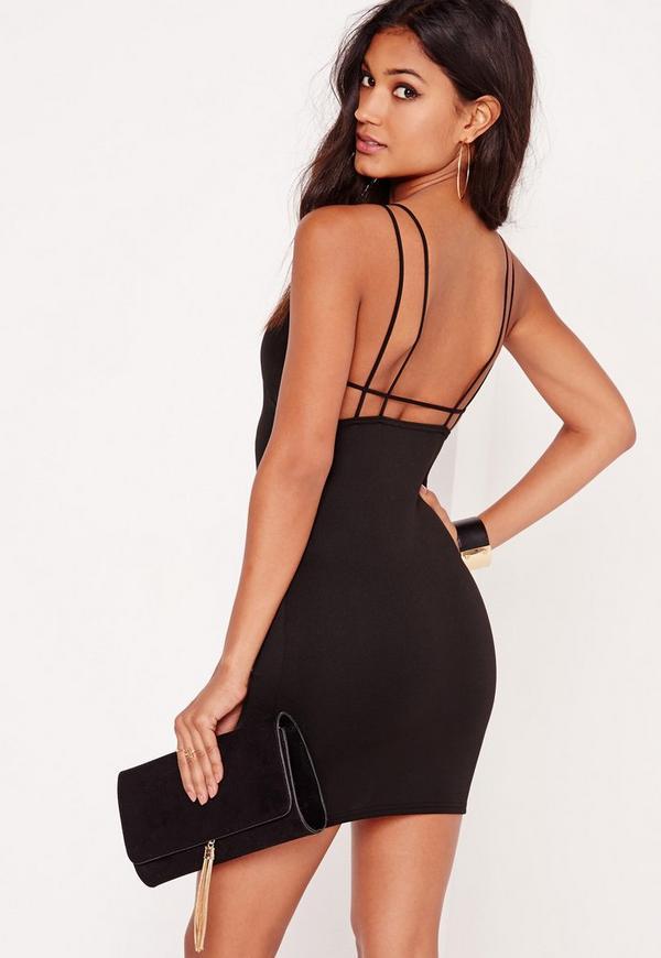 Strappy Scuba Bodycon Dress Black