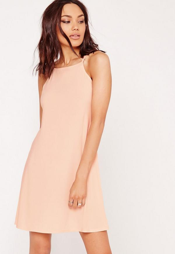 Square Neck Slinky Swing Dress Nude