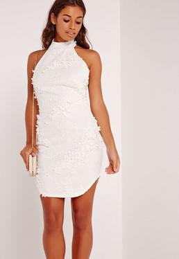 Floral Applique Lace High Neck Bodycon Dress White