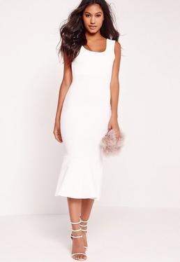 Scuba Flared Hem Midi Dress White