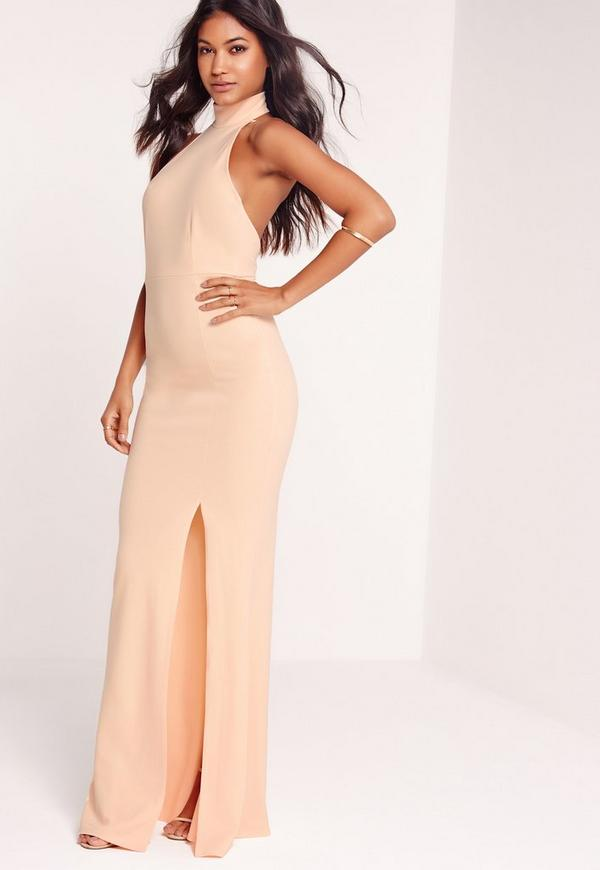 choker maxi dress nude