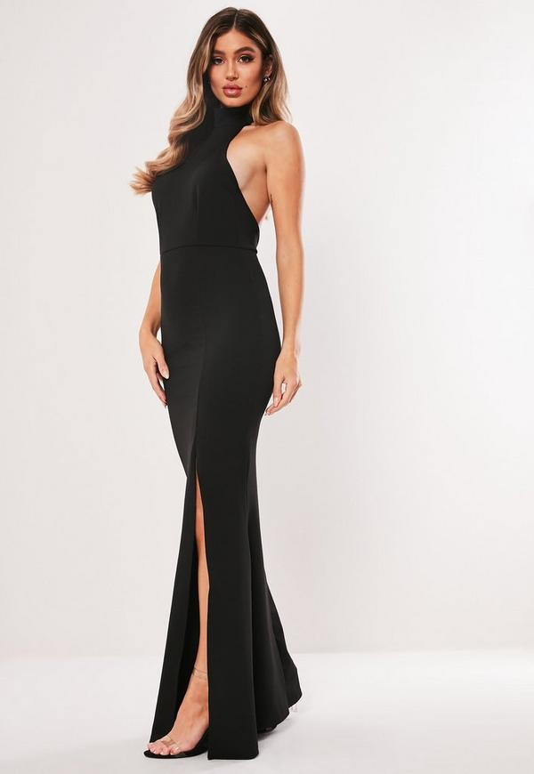 High Neck Maxi Dress Black Missguided