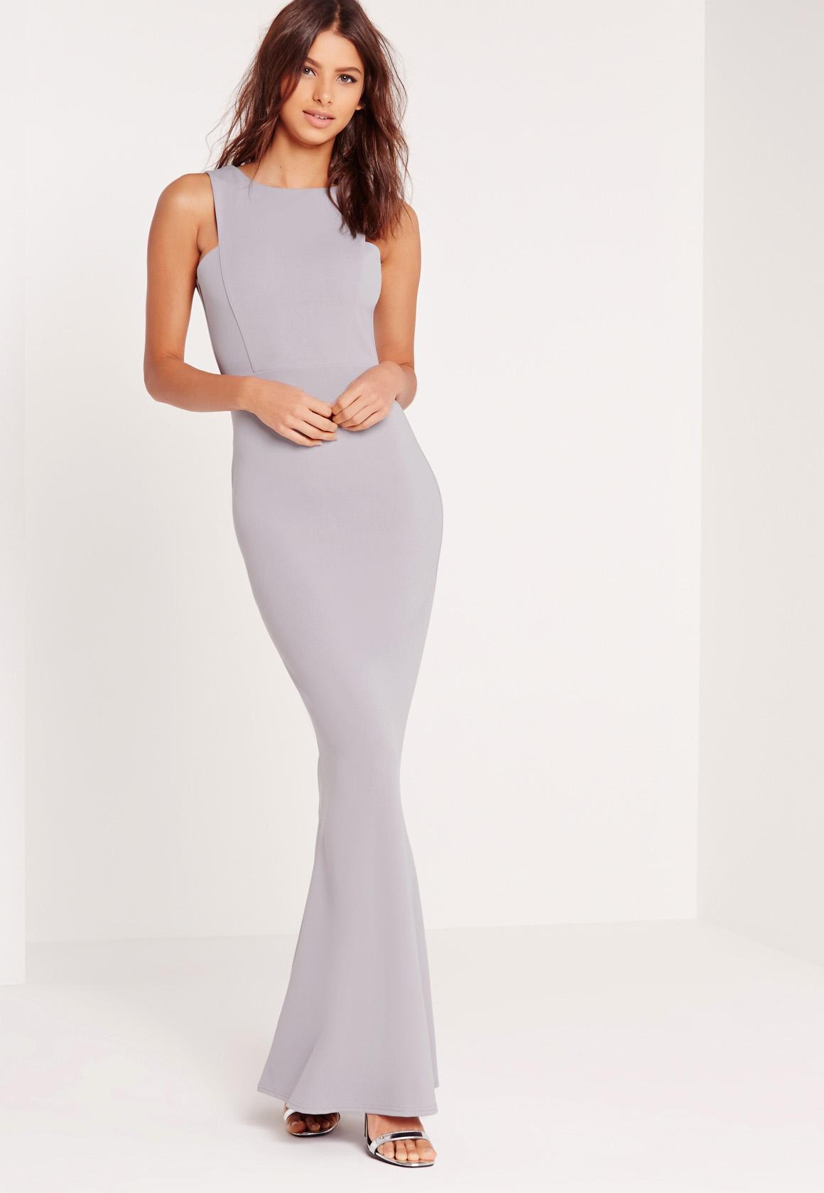 Low Back Maxi Dress Grey