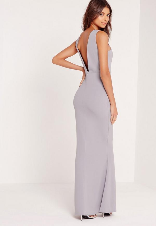 low back maxi dress grey - missguided