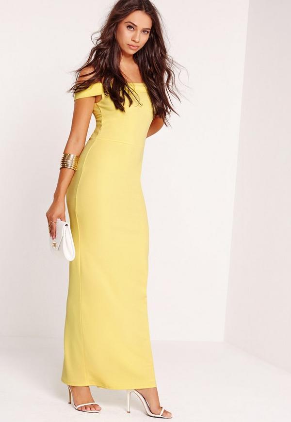 Bardot Maxi Dress Yellow