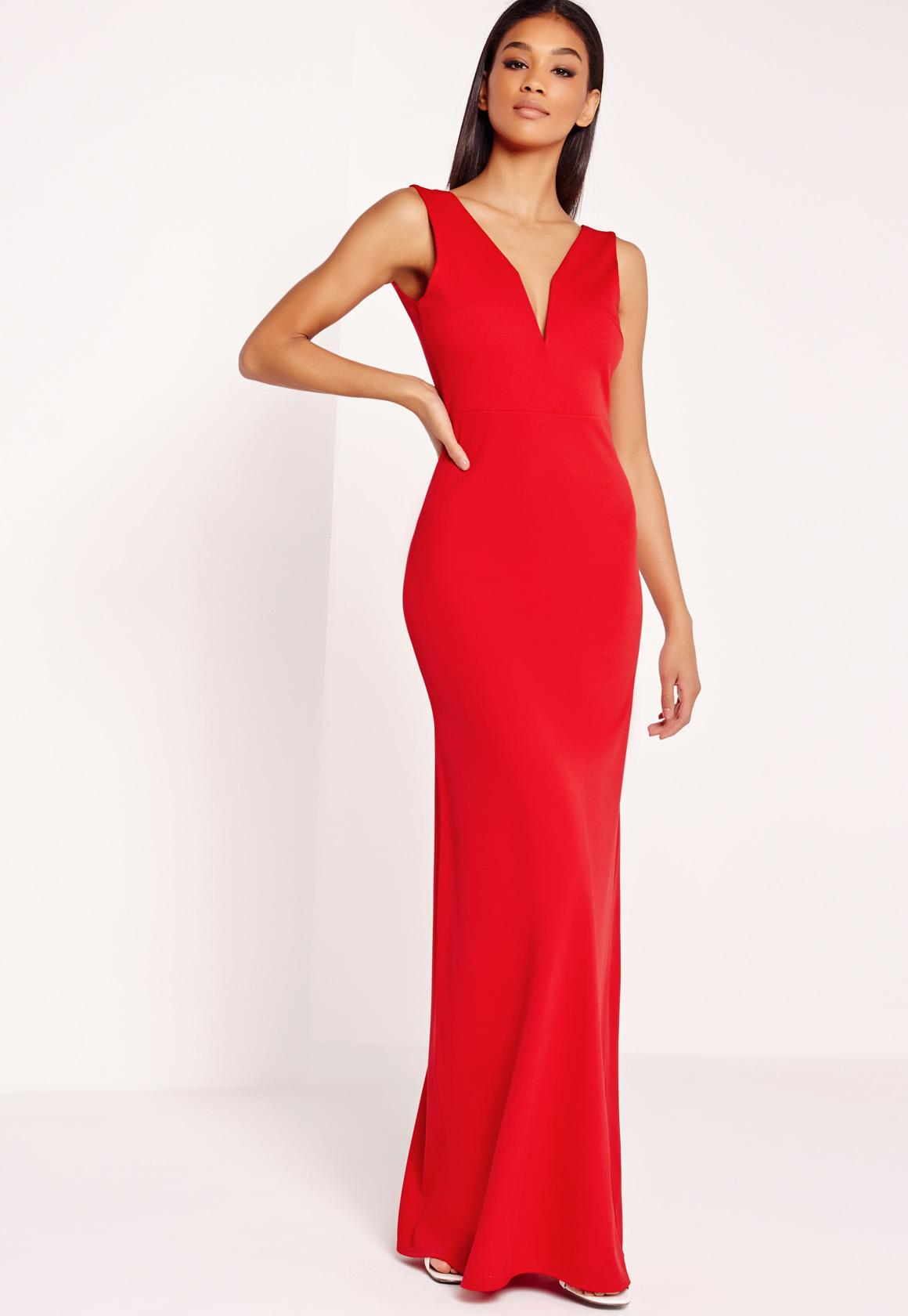 V-Neck Plunge Maxi Dress Red | Missguided