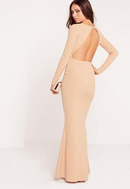 Long Sleeve Open Back Maxi Dress Nude