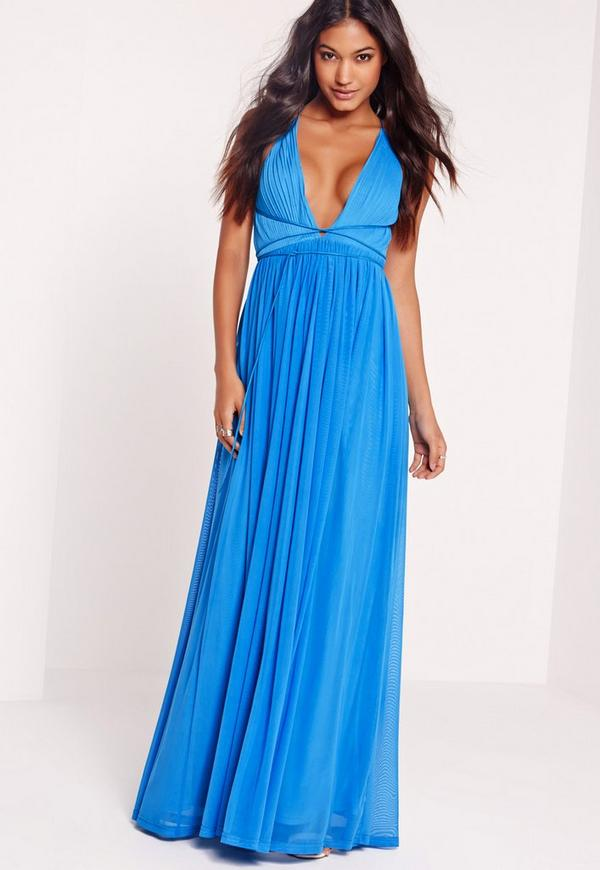 Strappy Pleated Plunge Maxi Dress Blue