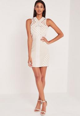 Carli Bybel Lace Cut Out Cross Neck Bodycon Dress White