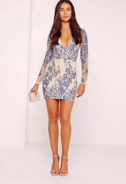 Long Sleeve Plunge Lace Bodycon Dress Blue