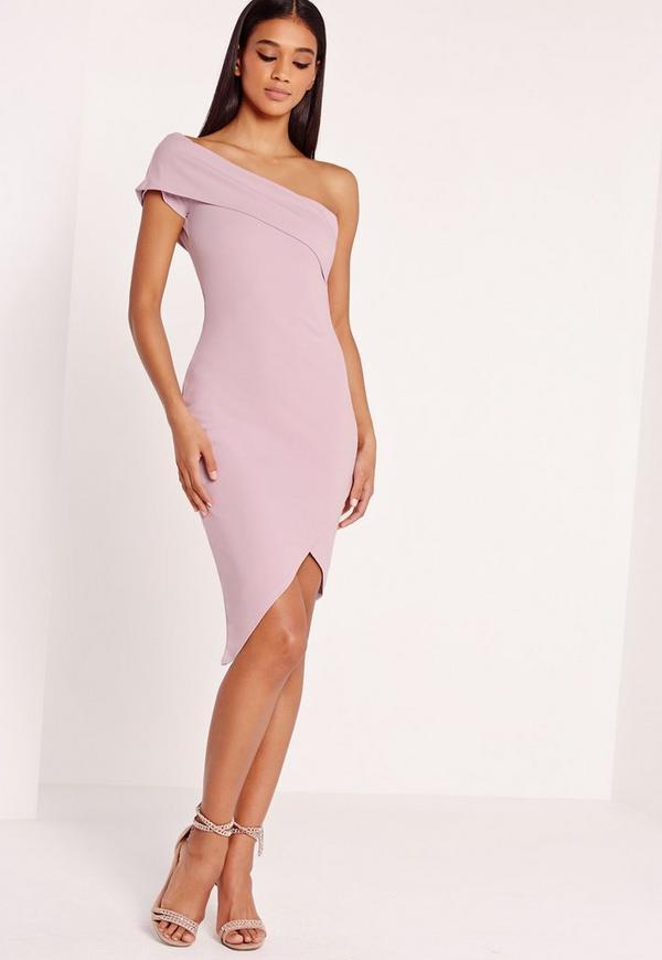 Asymmetric Bodycon Dress Lilac