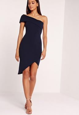 Asymmetric Bodycon Dress Navy