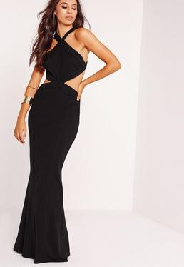 Cross Strap Cut Out Maxi Dress Black