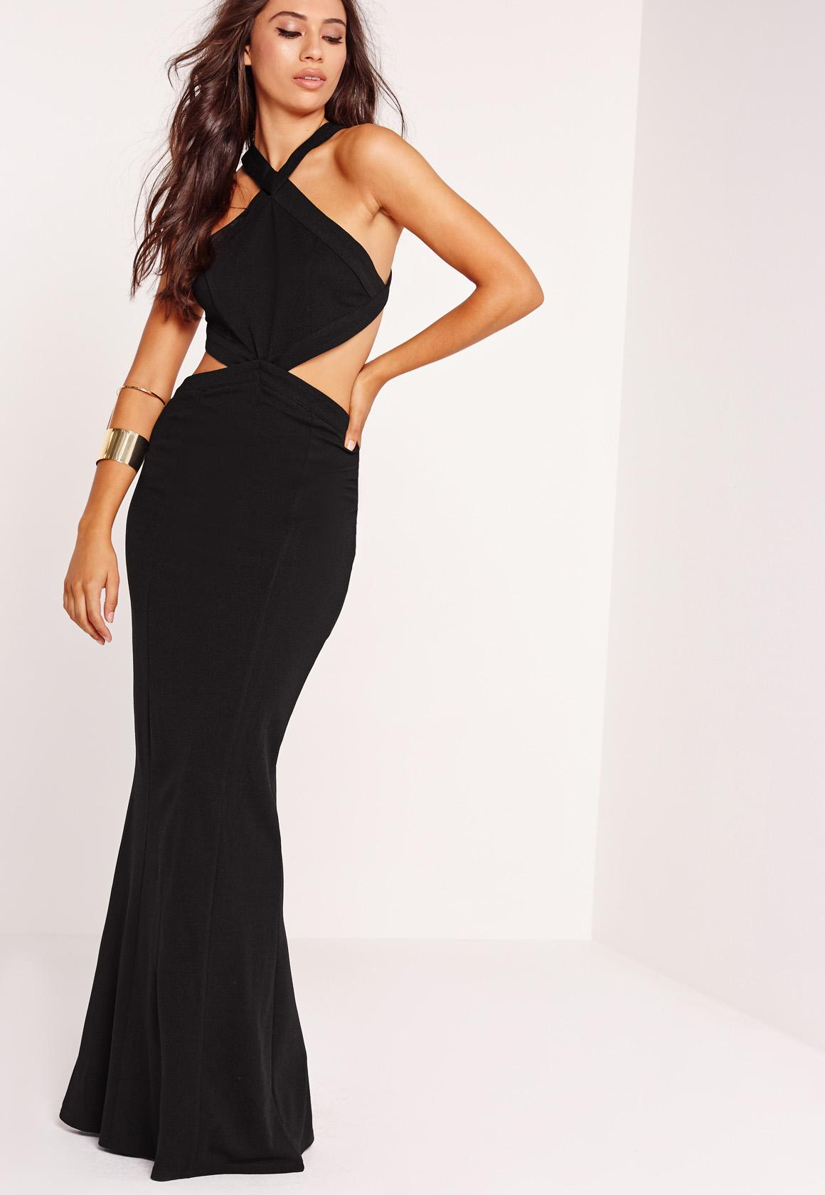 Cross Strap Cut Out Maxi Dress Black | Missguided