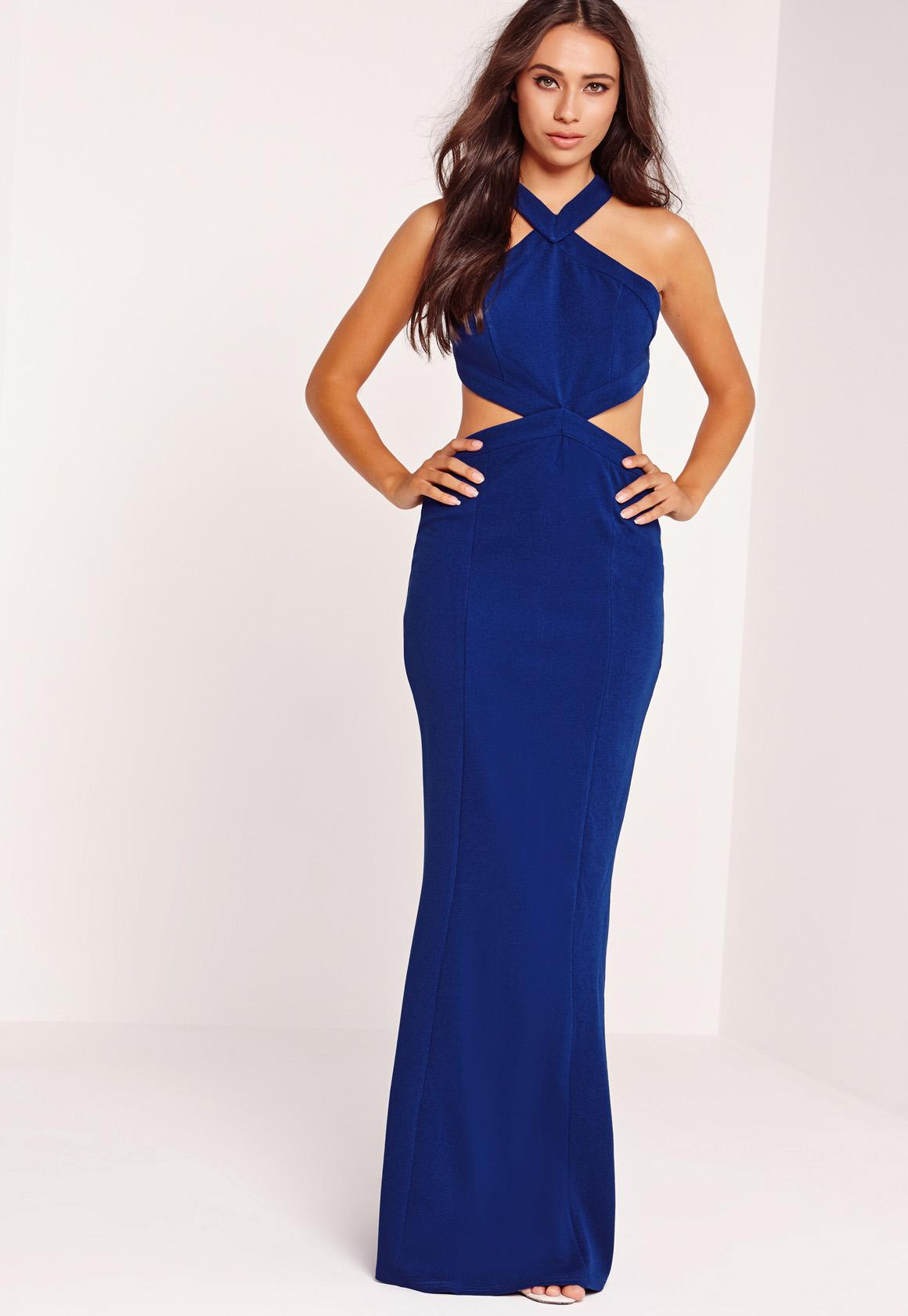 Cross Strap Cut Out Maxi Dress Blue | Missguided