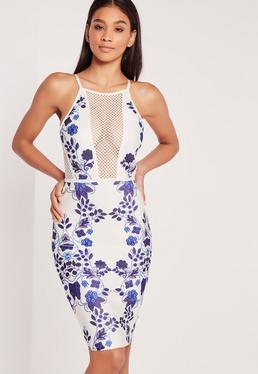 Floral Print Bandage Bodycon Midi Dress White