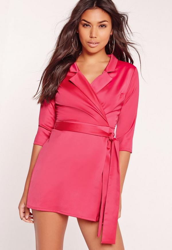 Silky Wrap Blazer Dress Pink