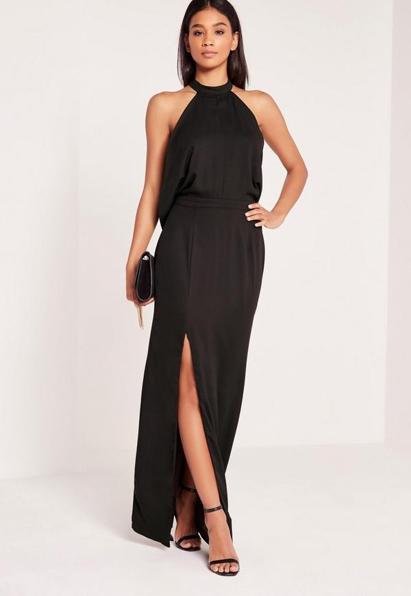 Cowl Back Maxi Dress Black