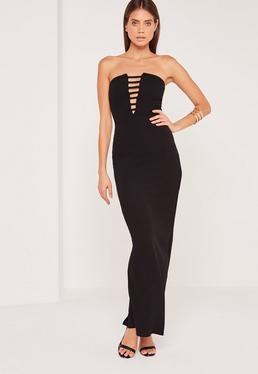 Bandeau Plunge Crepe Maxi Dress Black