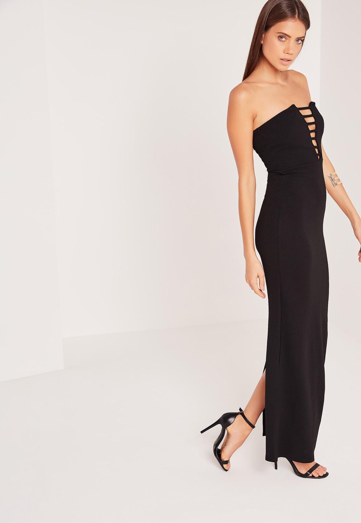 Bandeau Plunge Crepe Maxi Dress Black