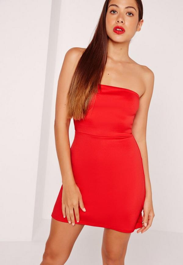 Bandeau A-Line Skater Dress Red