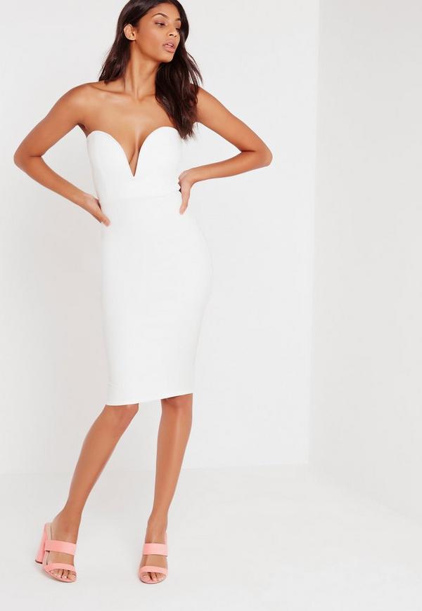 Scuba Plunge Bandeau Midi Dress White