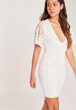 Flare Sleeve Plunge Lace Bodycon Dress Cream