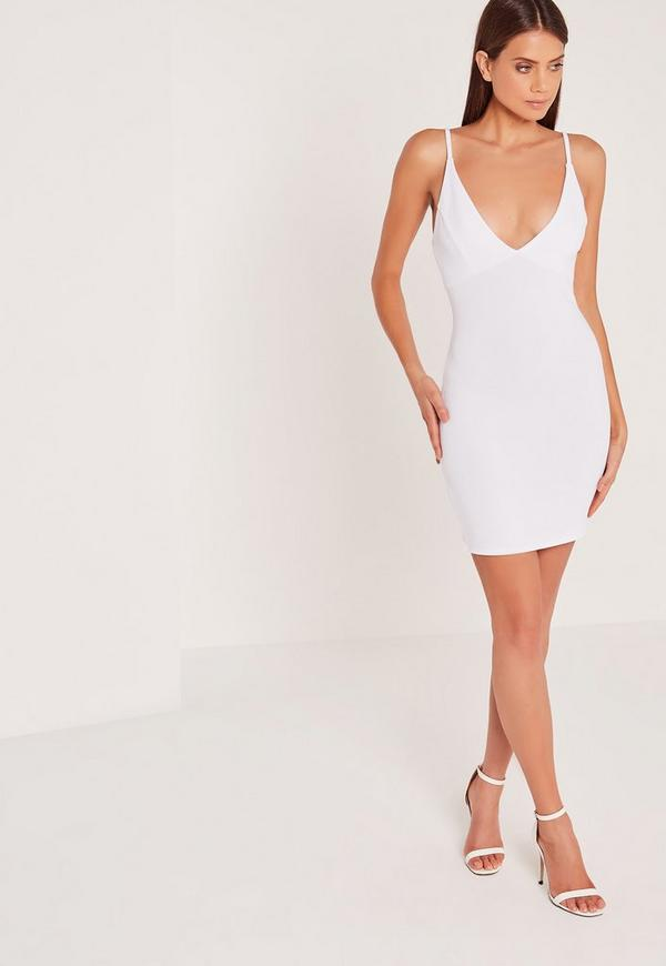 Plunge Ribbed Bodycon Dress White
