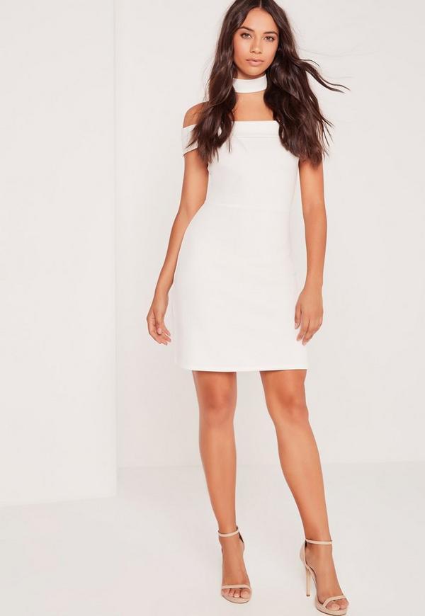 Bardot Choker Neck A-Line Skater Dress White