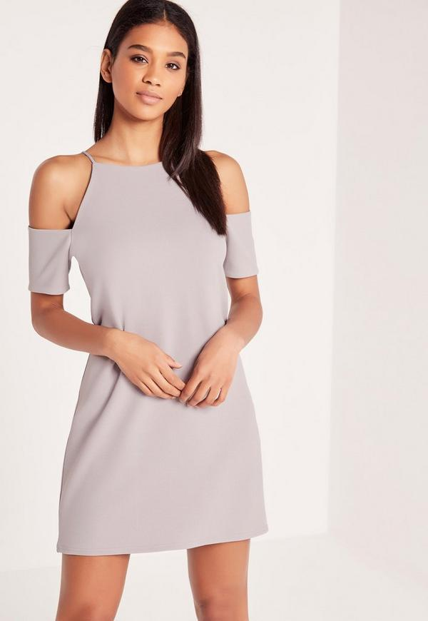 Cold Shoulder Crepe Shift Dress Grey