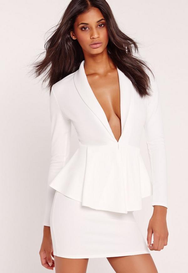 Long Sleeve Plunge Peplum Bodycon Dress White