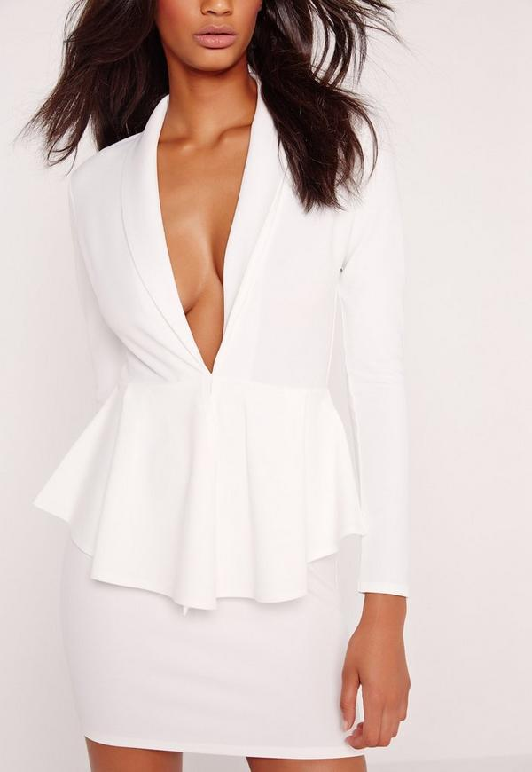 Long Sleeve Plunge Peplum Bodycon Dress White | Missguided