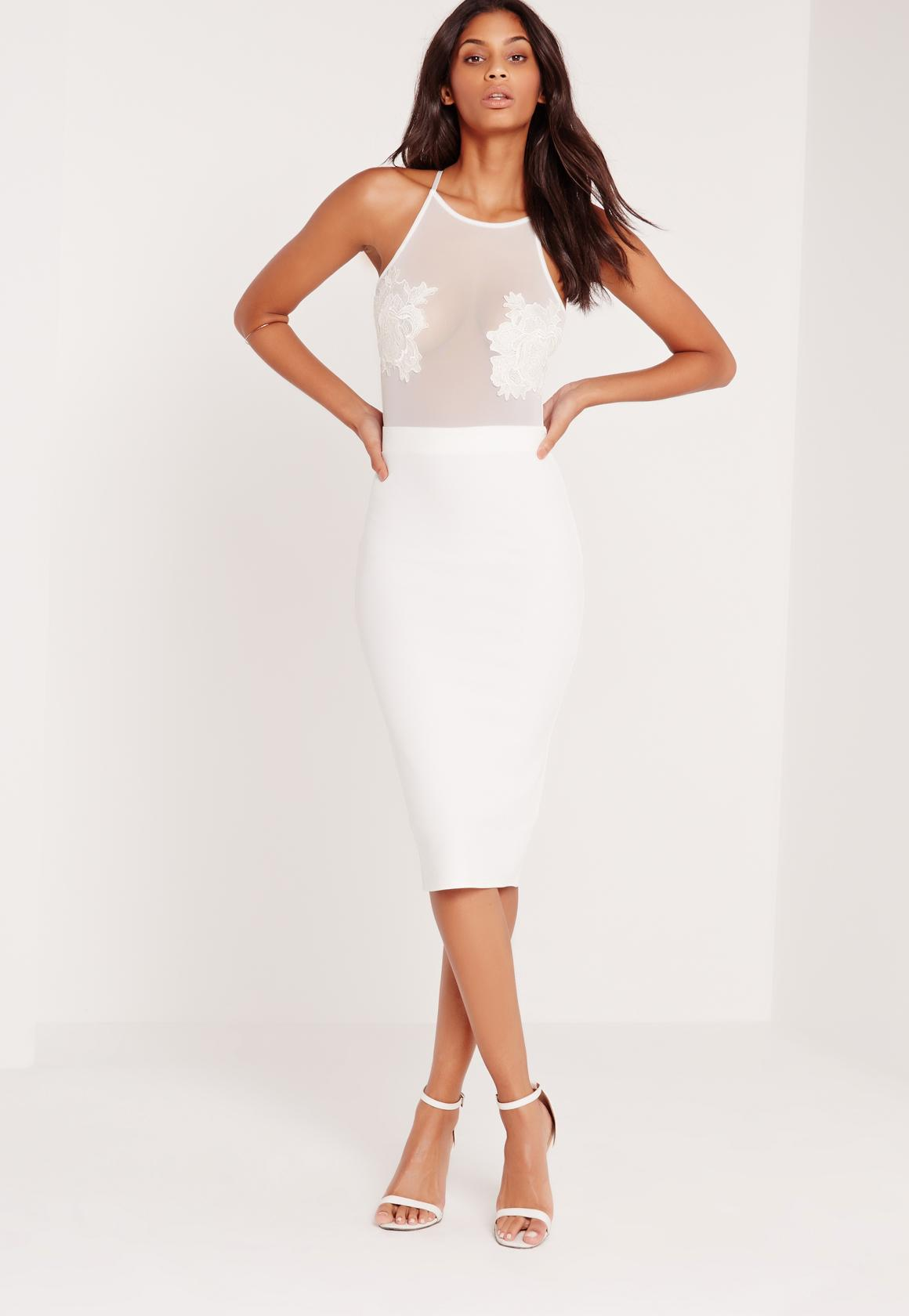 Applique Flower Mesh Midi Dress White | Missguided