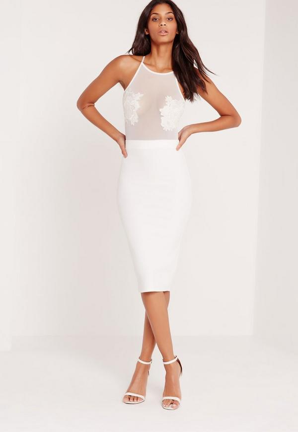 Applique Flower Mesh Midi Dress White