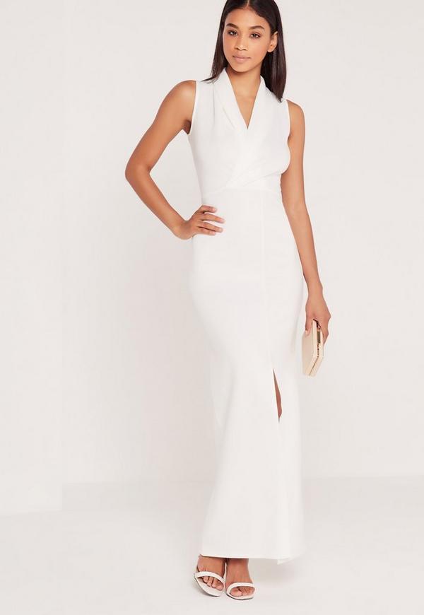 Wrap Front Scuba Maxi Dress Ivory