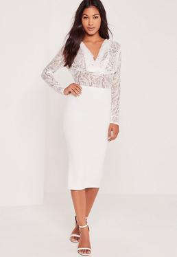 Contrast Lace Cowl Midi Dress White