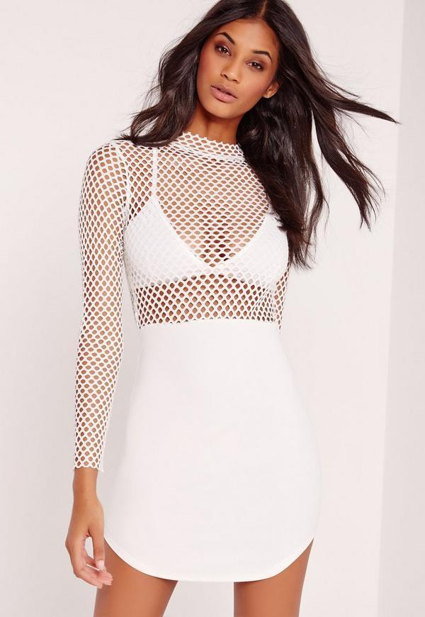 Fishnet Curve Hem Mini Dress White