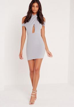 Cross Front Halter Bardot Bodycon Dress Grey