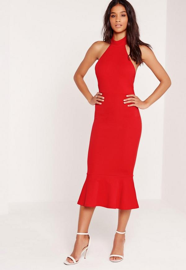 Halter neck fishtail midi dress red missguided for Red midi dress wedding guest