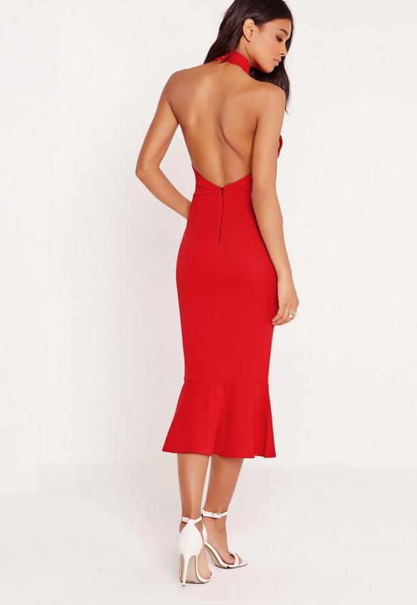 Halter Neck Fishtail Midi Dress Red | Missguided