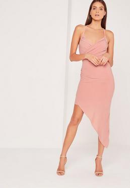 Strappy Asymmetric Wrap Midi Dress Rose
