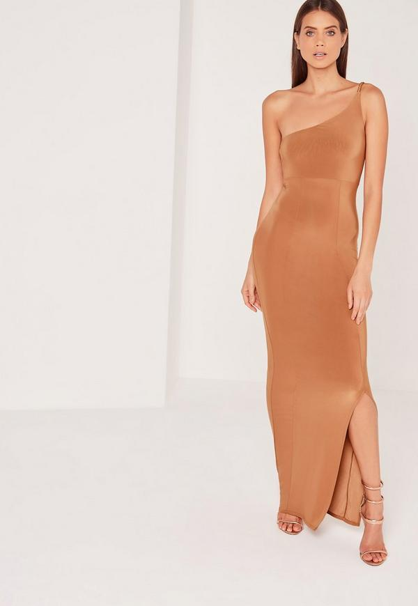 Plait Strap One Shoulder Slinky Maxi Dress Tan