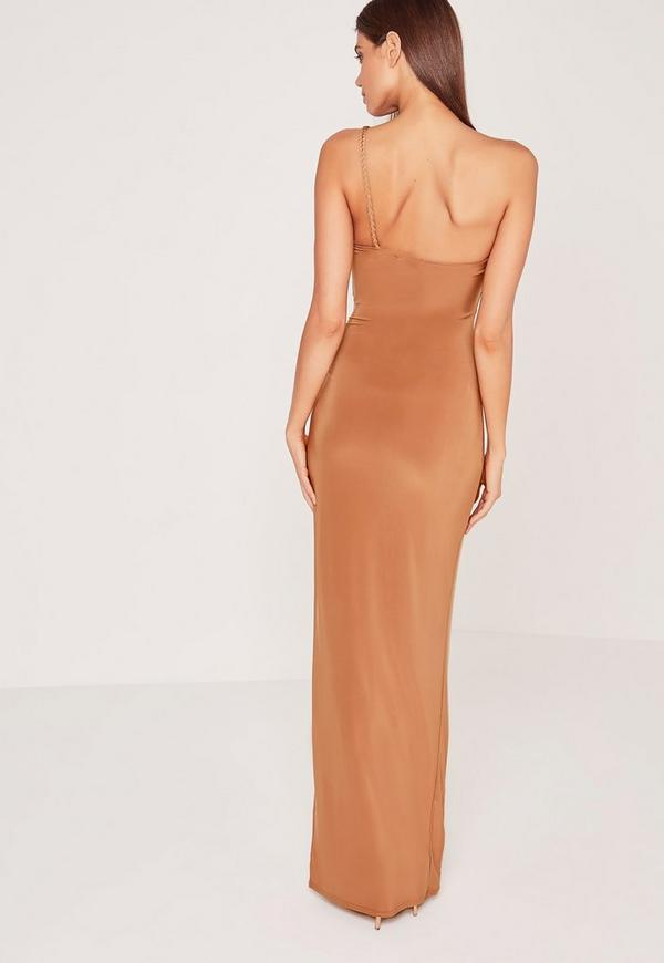 0b3587ef2aa0 Plait Strap One Shoulder Slinky Maxi Dress Tan. €48.00. Previous Next